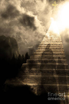 Stairway To Heaven V2 Sepia Poster by Wingsdomain Art and Photography