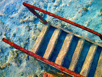 Stairway To The Sea.  Sea. Rusty Iron And Corals. Poster