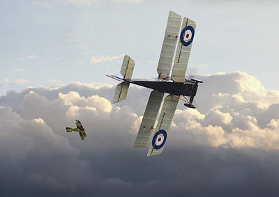 Poster featuring the digital art Stalked - Se5 And Albatros Dlll by Pat Speirs
