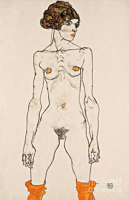 Standing Young Female Nude With Orange Colored Stockings Poster by Egon Schiele