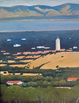 Poster featuring the painting Stanford From Hills by Gary Coleman