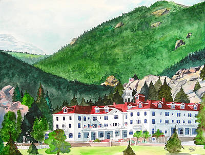 Poster featuring the painting Stanley Hotel by Tom Riggs