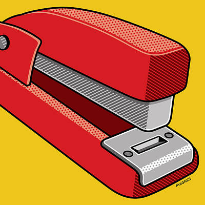 Poster featuring the digital art Stapler by Ron Magnes