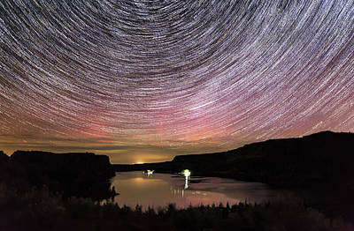 Poster featuring the photograph Star Trails And Aurora At Billy Chinook by Cat Connor