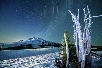 Poster featuring the photograph Star Trails Over Mt. Hood by William Lee