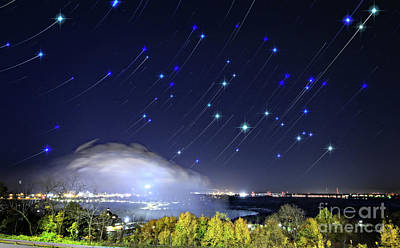 Poster featuring the photograph Star Trails Over Niagara River by Charline Xia