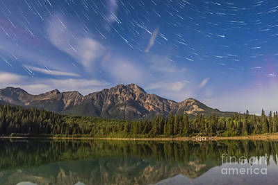 Star Trails Over Patricia Lake Poster by Alan Dyer