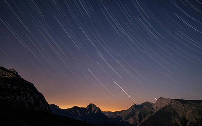 Star Trails Over The Apuan Alps Poster