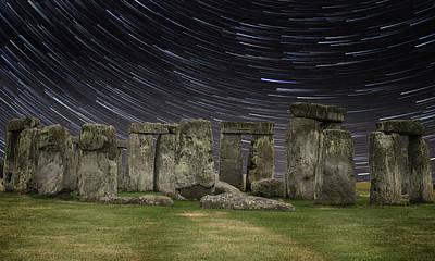 Star Trails Stonehenge Poster