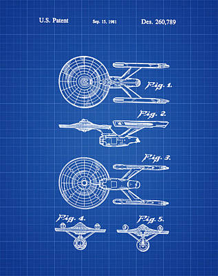 Star Trek Enterprise Patent Blue Print Poster by Bill Cannon