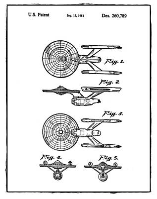Star Trek Enterprise Patent White Poster by Bill Cannon