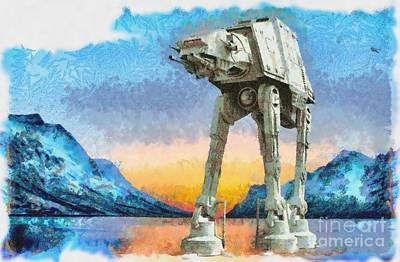 Star Wars At-at Sunrise On Hoth Poster by Edward Fielding