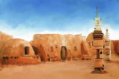 Star Wars Film Set Tatooine Tunisia Poster by Michael Greenaway