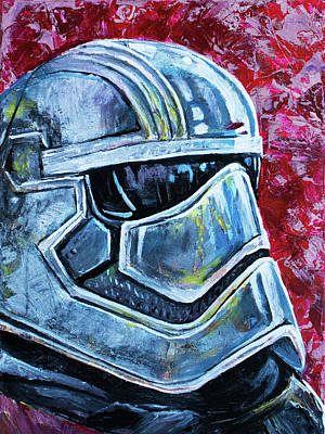 Poster featuring the painting Star Wars Helmet Series - Captain Phasma by Aaron Spong
