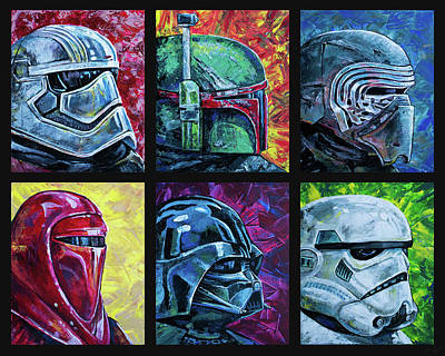 Poster featuring the painting Star Wars Helmet Series - Collage by Aaron Spong