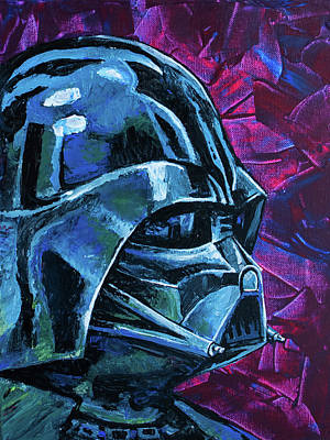 Poster featuring the painting Star Wars Helmet Series - Darth Vader by Aaron Spong