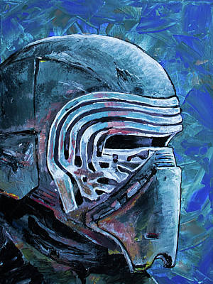 Poster featuring the painting Star Wars Helmet Series - Kylo Ren by Aaron Spong