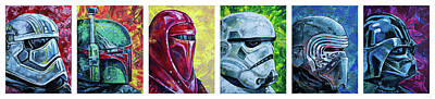 Poster featuring the painting Star Wars Helmet Series - Panorama by Aaron Spong