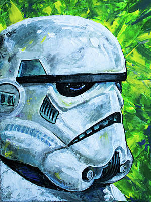 Poster featuring the painting Star Wars Helmet Series - Storm Trooper by Aaron Spong