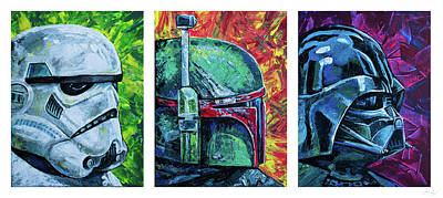 Poster featuring the painting Star Wars Helmet Series - Triptych by Aaron Spong
