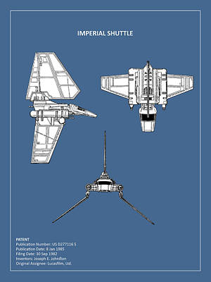 Star Wars - Shuttle Patent Poster by Mark Rogan