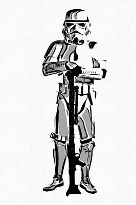 Star Wars Stormtrooper Graphic Novel Fan Art Drawing Poster by Edward Fielding