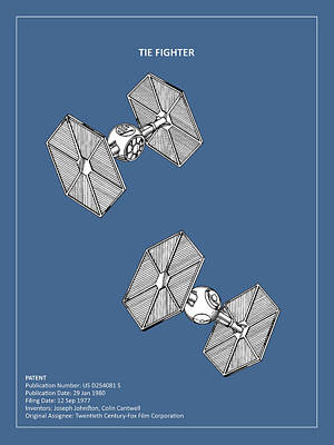 Star Wars - Tie Fighter Patent Poster by Mark Rogan