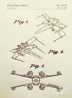 Star Wars X-wing 1980 Us Patent - Sepia Poster by Scott D Van Osdol