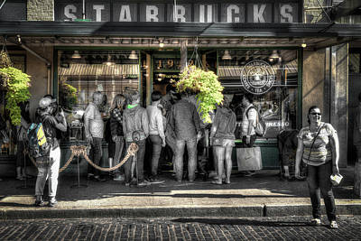 Poster featuring the photograph Starbucks At The Market by Spencer McDonald
