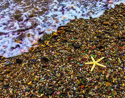 Starfish Among Stones And Sea Glass Poster