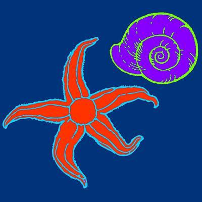 Poster featuring the digital art Starfish And Shell by Jennifer Hotai