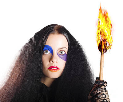 Staring Woman Holding Flame Torch Poster by Jorgo Photography - Wall Art Gallery
