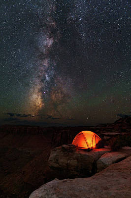 Starlight Camping On The Canyon Edge Poster