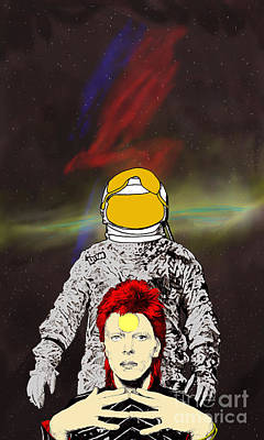 Poster featuring the drawing Starman Bowie by Jason Tricktop Matthews