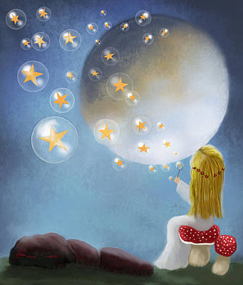 Starry Bubbles By Sannel Larson Poster