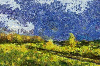 Starry Field Landscape Poster