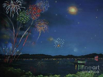Starry Night At Crooked Creek Marina Poster by Jackie Hill