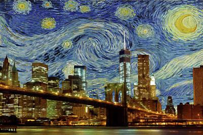Starry Night Brooklyn Bridge Poster by Movie Poster Prints