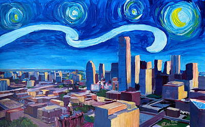 Starry Night In Dallas - Van Gogh Inspirations With Texas Impressive Skyline At Dusk Poster by M Bleichner