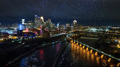 Starry Night In Minneapolis Poster