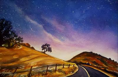 Starry Night On Yokohl Road Poster by Therese Fowler-Bailey