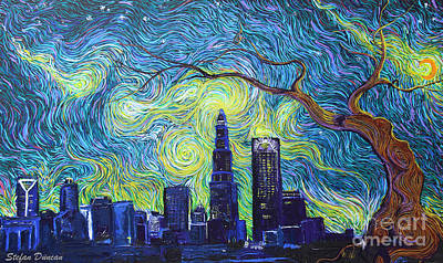Starry Night Over The Queen City Poster