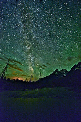 Starry Night Over The Tetons Poster