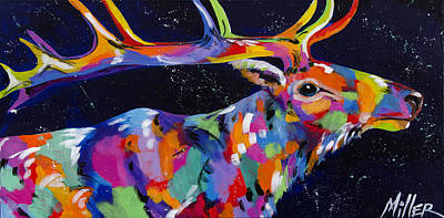 Starry Starry Elk Poster by Tracy Miller