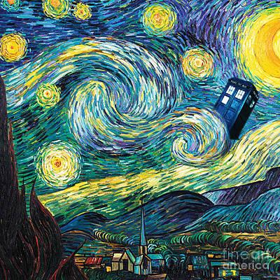 Starry Tardis Art Painting Poster
