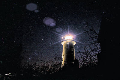 Stars Over Nobska Lighthouse Poster