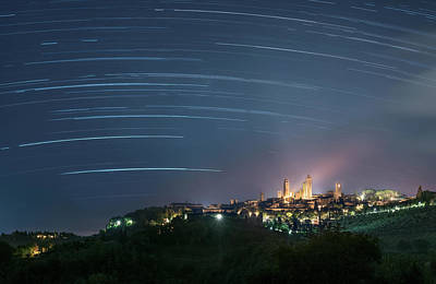 Startrails Over San Gimignano Poster