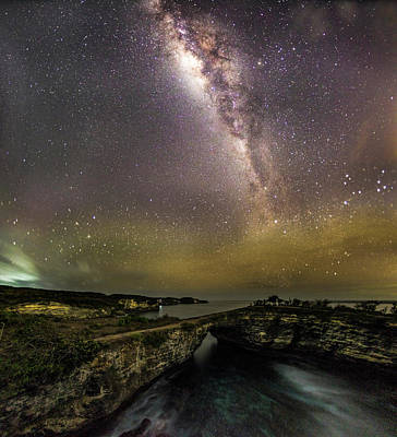 Poster featuring the photograph stary night in Broken beach by Pradeep Raja Prints