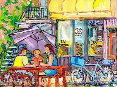 Station W Verdun Coffee Shop Paintings Wellington St Patio Scenes Canadian Art C Spandau Cityscenes  Poster