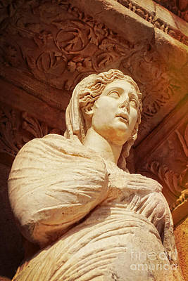 Statue At The Library Of Celsus Poster by HD Connelly